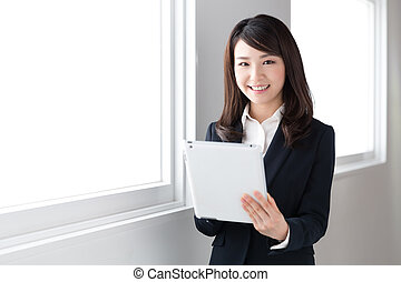 woman using tablet computer