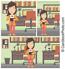 Woman using tablet computer vector illustration.