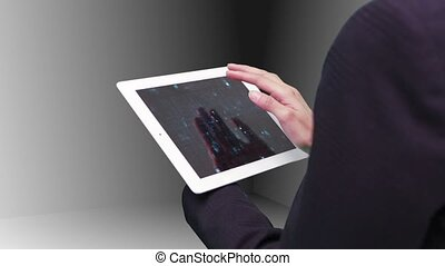 Woman using tablet view holographic