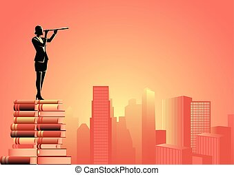 Woman using telescope standing on pile of books