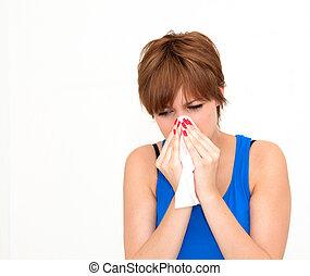 woman using tissue on white background
