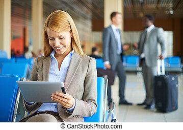 Woman using touchpad