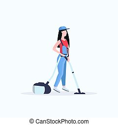 woman using vacuum cleaner female janitor in uniform cleaning service floor care concept flat full length white background