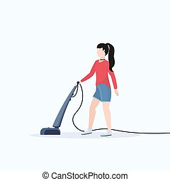 woman using vacuum cleaner housewife cleaning service housework floor care concept flat full length white background