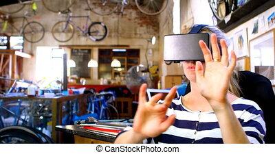 Woman using virtual reality headset 4k - Woman using virtual...