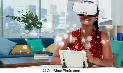 Woman using virtual reality headset surrounded by white bubbles effect