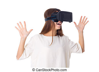 Woman using VR glasses - Smiling young woman in white shirt...