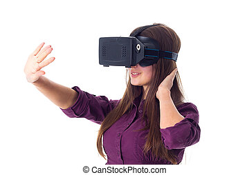 Woman using VR glasses - Young positive woman in purple...