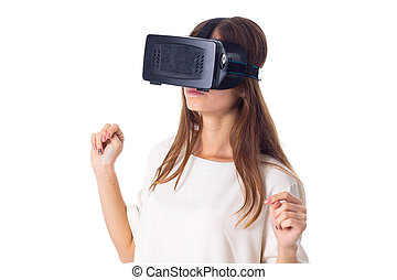 Woman using VR glasses - Charming young woman in white shirt...