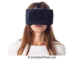 Woman using VR glasses - Scared young woman in white shirt...