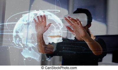 Woman using VR headset looking at digital globe