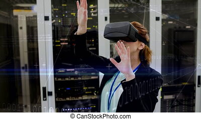 Woman using VR in Server Room