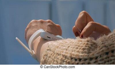 Woman using wearable smart watch - Woman using wearable...