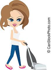 Woman Vacuuming  - Isolated cartoon woman vacuuming floor