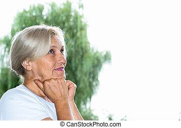 woman van, a parkban
