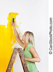 woman van, képben látható, egy, létra, festmény