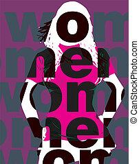 woman., vecteur, mode, illustration