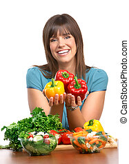 Woman, vegetables and fruits - Young smiling woman with ...