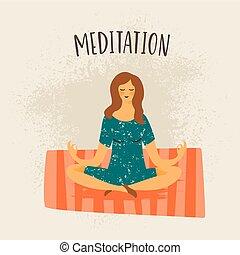 woman., vektor, mediter, illustration