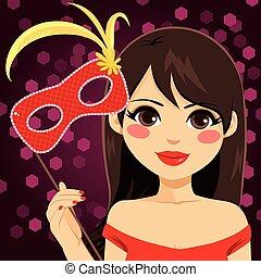 Woman Venetian Mask - Beautiful young woman holding Venetian...