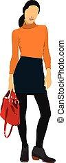 woman., vettore, giovane, illustrazione