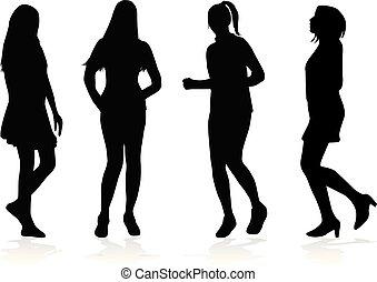 woman., vettore, silhouette, work.