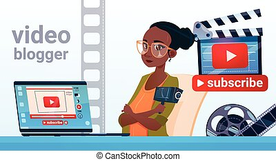 Woman Video Blogger Online Stream Blogging Subscribe Concept Flat Vector Illustration