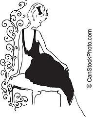 Woman vintage profile silhouette