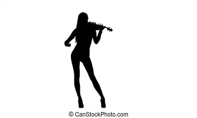 Woman violinist playing the fiddle. Silhouette -...