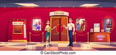Woman visit cinema give ticket to man controller front of ...