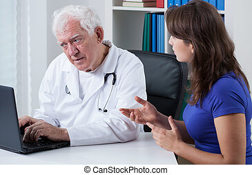Woman visiting her doctor