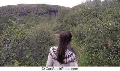 Woman Visiting Majestic Svartifoss Waterfall - Woman ...