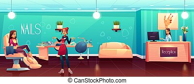 Woman visiting beauty salon, female client siting in comfortable chair, waiting for pedicure, manicure procedure, nail technician offering to chose fingernail polish color cartoon vector illustration