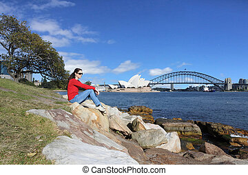 Woman visiting Sydney New South Wales Australia