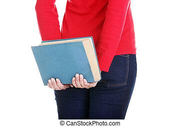 woman., vista, jovem, estudante, costas
