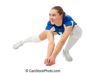 Woman voleyball player isolated (ver without ball) - Young...