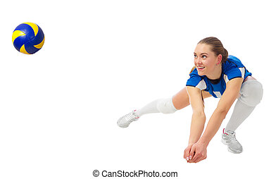Woman voleyball player isolated (ver with ball) - Young...