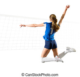 Woman voleyball player isolated (ver with net) - Young woman...