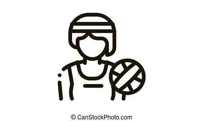 Woman Volleyball Player Icon Animation. black Woman Volleyball Player animated icon on white background