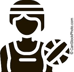 Woman Volleyball Player Icon Vector Glyph Illustration
