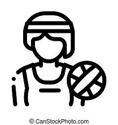 Woman Volleyball Player Icon Vector Outline Illustration