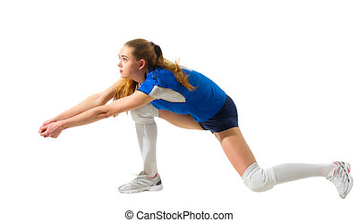Woman volleyball player isolated (without ball ver) - Young...