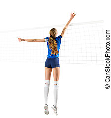 Woman volleyball player isolated (ver with net) - Young...