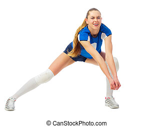 Woman volleyball player isolated (ver without ball) - Young...