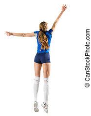 Woman volleyball player isolated (ver without net and ball)...