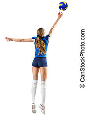 Woman volleyball player isolated (ver with ball) - Young...