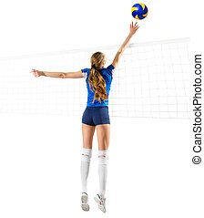 Woman volleyball player isolated (ver with net and ball) -...
