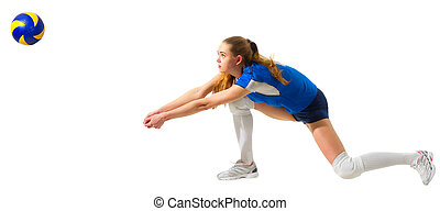 Woman volleyball player isolated (with ball ver) - Young...