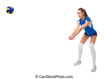 Woman volleyball player (ver with ball) - Young woman...
