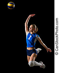 Woman volleyball player (with ball ver) - Young woman...